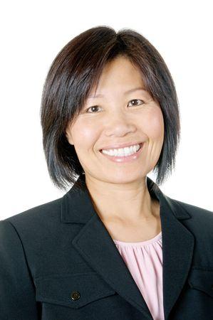 Happy businesswoman in black jacket Stock Photo