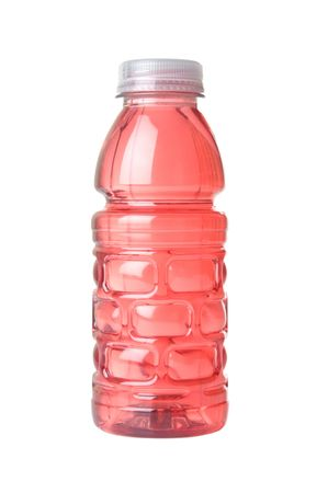 Bottle containing sport drink on white background