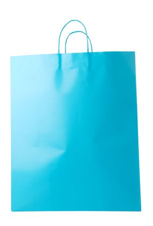 Turquoise blue shopping bag on white background