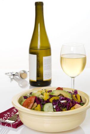 white zinfandel: White wine with fresh, chopped vegetable salad