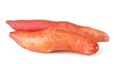 Yams on a white background