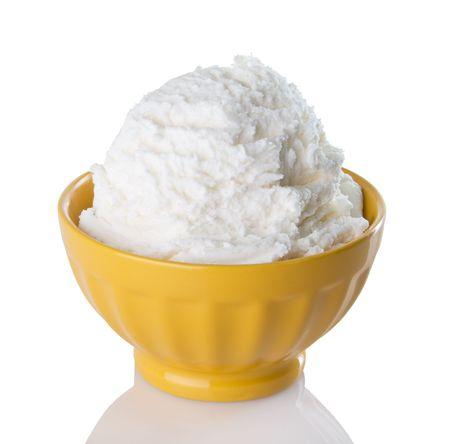 Cold, creamy vanilla ice cream in a bright, yellow bowl