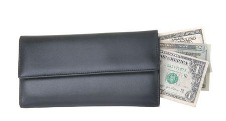 現金お金を示すそれから伸びると黒の財布