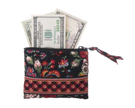 鮮明な現金金を含む小さな財布