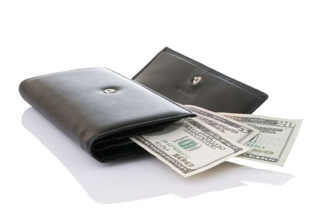 readily: Black wallet open with spending money readily available Stock Photo