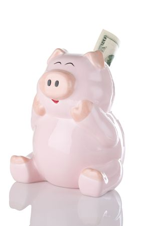 Happy looking piggy bank seems ecstatic over gaining a 20 dollar bill. Concept indicating happiness over saving money.
