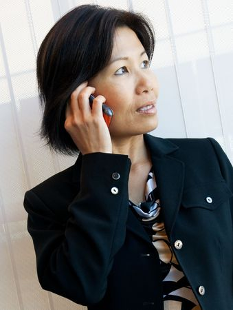 Pretty businesswoman talking on cell phone in office setting