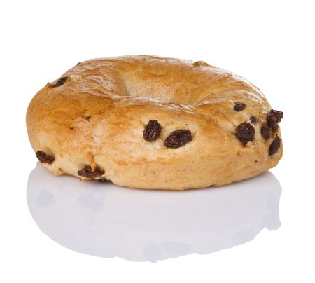 One freshly baked cinnamon raisin bagel Banco de Imagens