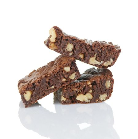 Chocolate brownies with chopped walnuts Imagens