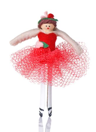 ballerina christmas ornament hand made of felt and a clothespin stock photo 5954747