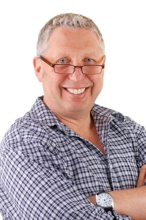 Smiling senior male wearing casual with eyeglasses