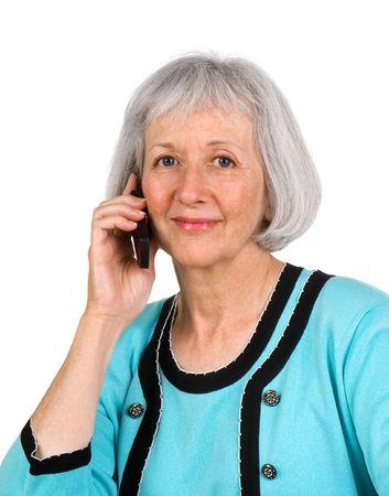 caller: Smiling senior businesswoman listening to a caller Stock Photo