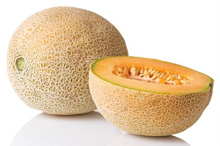 Fresh whole cantaloupe with half slice