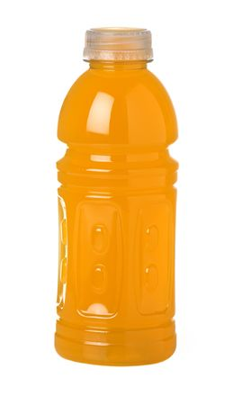 Bottle of orange flavored sports drink with vitamins isolated on white background
