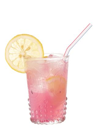 Pink lemonade in an antique style glass