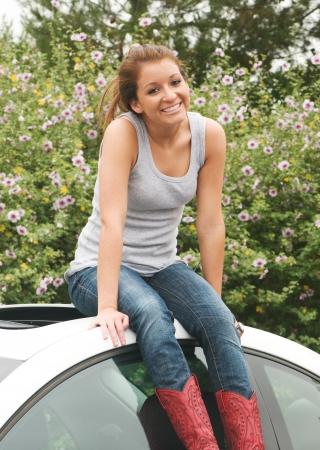 18 year old: Beautiful, happy 18 year old teen girl Stock Photo