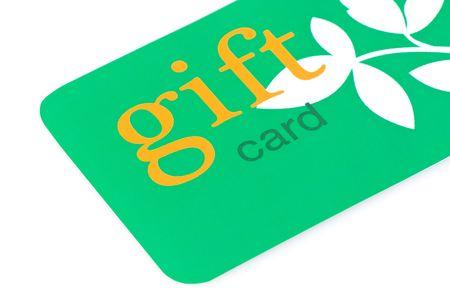 dar un regalo: Tarjeta de regalo verde con texto naranja y hojas blancas, grandes para dar respetuosos