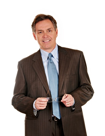 Middle aged businessman in pin striped suit