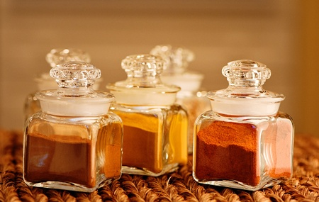 Glass jars of spices