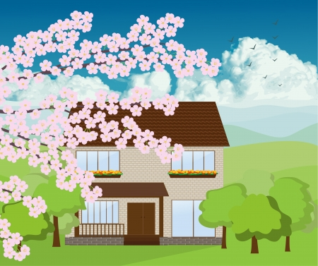 Tree blossom with mountain background Vector