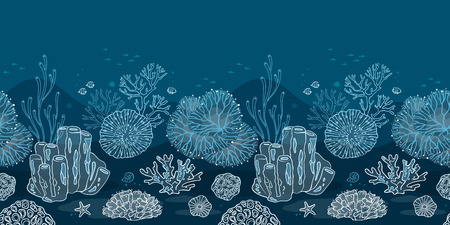 Seamless pattern with corals, algae, fish and starfish. Flat icons with sea plants and symbols. Set of color vector illustrations.