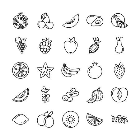 Satz Fruchtikonen-Illustrationshintergrund im lokalisierten Vektor. Perfekt geeignet zur Überarbeitung oder Verwendung zum Drucken in Büchern, zur Veröffentlichung auf Websites. Vektorgrafik