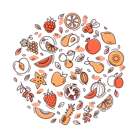 Set of vegetables and fruits icons illustration background in a circular shape