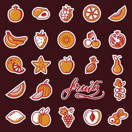 Cute vector stikers with fruits and lettering. Vettoriali