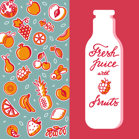 Template with hand has drawn fruits vertical pattern. Flat style vector illustration isolated on white. Various organic product for healthy food. A place for text with the bottle. Design of product.  イラスト・ベクター素材