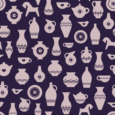 Vector pottery seamless pattern - Greek vase, amphora, antique pitcher. Ceramics or pottery bowl, urn for art studio, design elements for a hobby, masterclass.