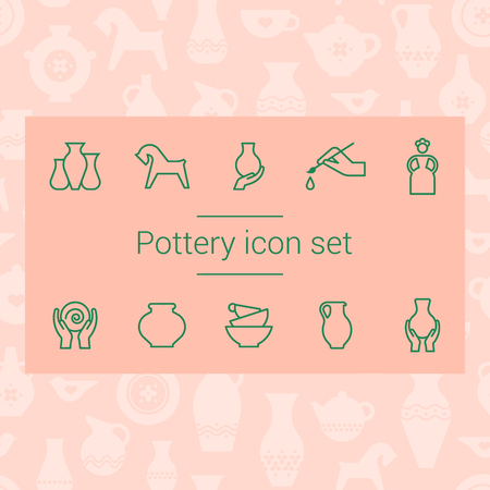 Tools and pottery. Pottery line icons, isolated vector illustration. Ceramic dishes set and craft. Vector icon set of various kitchenware on the background. The ancient craft.