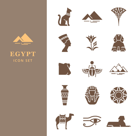 Classic elements of Egypt. Egyptian icon set for a logo, website design, printing products and more.