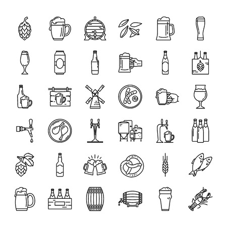 Craft Beer pixel-perfect icons in the modern style isolated on white background. A large set of icons on the topic of beer, its production and use in vector format.