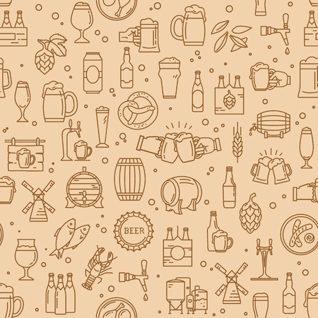 Seamless pattern kraft beer icons in modern style on the theme of beer, its production and use in vector format.