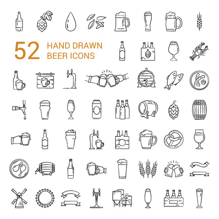 52 pieces craft Beer pixel-perfect icons in the modern style isolated on white background. A large set of icons on the topic of beer, its production and use in vector format.