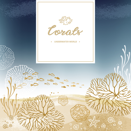 Design with lettering and a place for text with a coral background of corals and marine elements, hand-drawn. Sea bottom background with place for text. Stock Photo