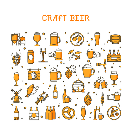 A large set of colorful icons on the topic of beer, its production and use in vector format. Craft Beer pixel-perfect icons in the modern style isolated on white background. Stock Photo