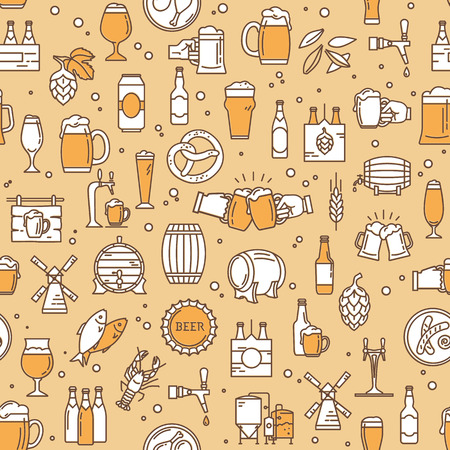 Seamless colorful pattern background kraft beer brewing icons in modern style on the theme of beer, its production, and use in vector format.