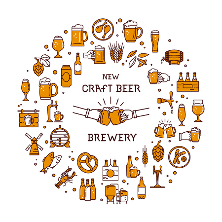 Circular style a large set of colorful icons on the topic of beer, its production and use in vector format with place for the text. Craft Beer pixel-perfect icons in the modern style isolated on white background. Illustration