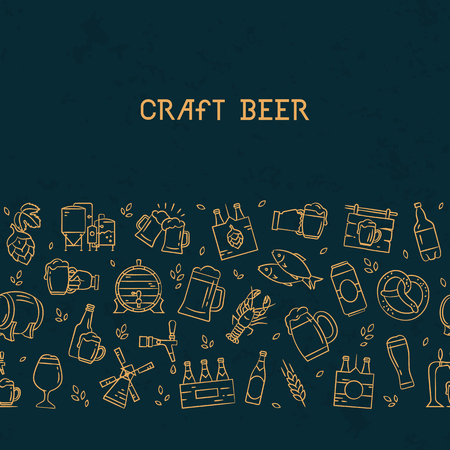 Dark seamless horizontal pattern beer of hand-drawn icons on the theme of beer, its production and use in vector format. Hand-drawn flat icons in this pattern.