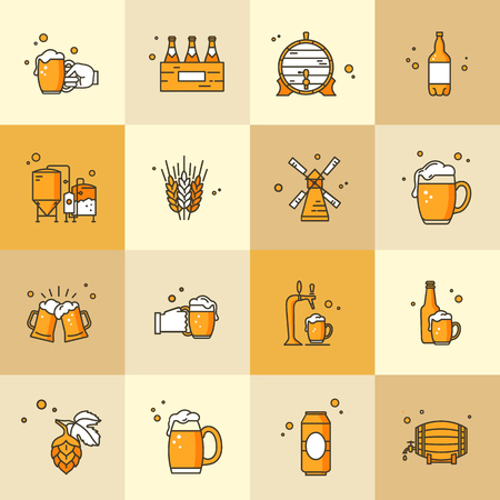 Set of icons on the topic of Kraft beer, its production and use in vector format. Beer pixel-perfect icons in the modern style isolated. Illustration