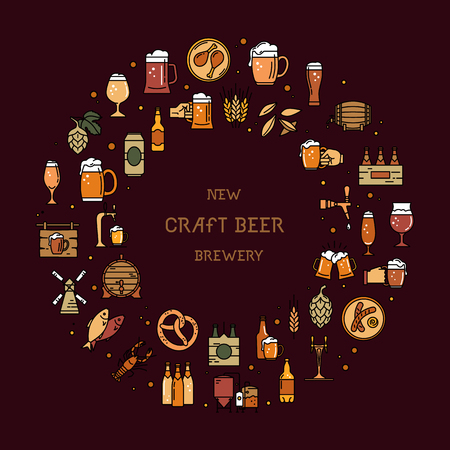 Circular a large set of colorful icons on the topic of beer, its production and use in vector format with a place for the text. Craft Beer pixel-perfect icons in the modern style isolated on brown background. Standard-Bild