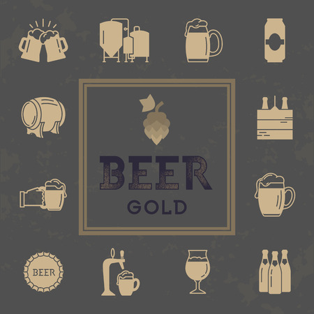 Logo for pub, bar, craft beer brewery. Set of brewing icons in retro style. Vector icon set on theme beer and beer brewing.