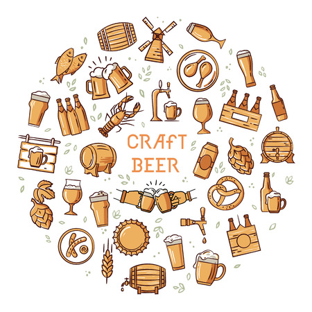 Circular hand-drawn a large set of colorful icons on the topic of beer, its production and use in vector format with a place for the text. Craft Beer pixel-perfect icons in the modern style isolated on white background. Stock Photo