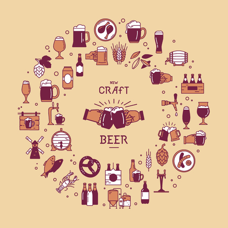 Circular style set of colorful icons on the topic of beer, its production and use in vector format with place for the text. Craft Beer pixel-perfect icons in the modern style isolated on background.