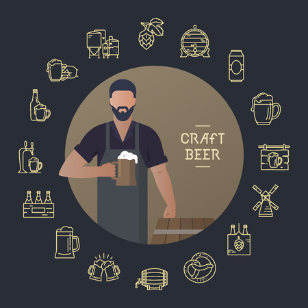 Brewer own brewery with a beer in the hand demonstrating near barrels in vector illustration plus beer icon set isolated on dark background. Template man with a beer in hand with a place for the text. Reklamní fotografie