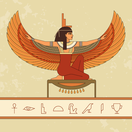 The Egyptian goddess Isis and set of Egypt hieroglyphs. Animation portrait of the beautiful Egyptian woman. Vector illustration isolated on background. Print, poster, t-shirt, tattoo. Stock Photo