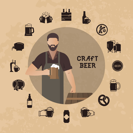 Brewer own brewery with a beer in the hand demonstrating near barrels in vector illustration plus beer icon set isolated. Template man with a beer in hand with a place for the text.