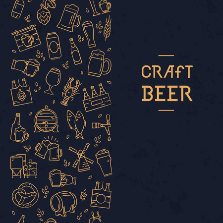 Dark seamless vertical pattern beer of hand-drawn icons on the theme of beer, its production and use in vector format. Hand-drawn flat icons in this pattern.