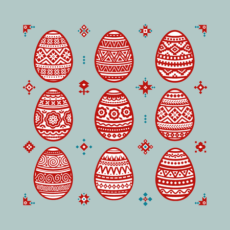 Easter red eggs vector flat icons painted in traditional style. Eggs isolated vector. Easter eggs for Easter holidays design. Eggs icons flat modern style. Imagens - 124991661